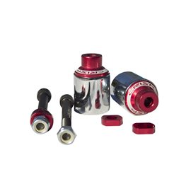 Crisp Peg Red W Chrome Sleeve, Pair, incl bolts and spacers 20171216571